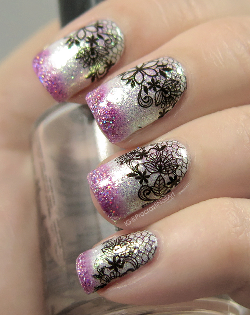 Nail Art Lace Decal Nails With Pink Gradient Tips Procrastinails