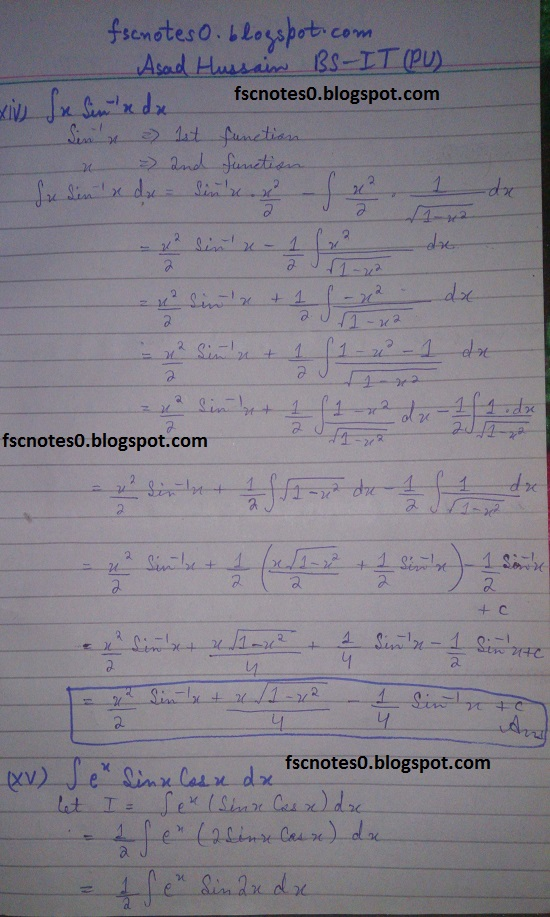FSc ICS Notes Math Part 2 Chapter 3 Integration Exercise 3.4 Question 1 Asad Hussain 7