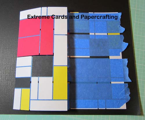 adhering Mondrian tri-shutter card pop up