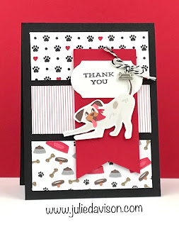 4 Vertical Triple Panel Cards with Stampin' Up! DSP ~ Playful Pets Suite ~ 2020-2021 Annual Catalog ~ www.juliedavison.com