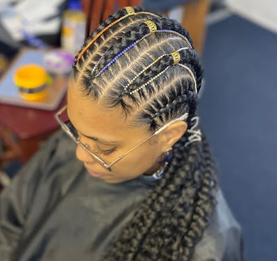 Bohemian Feed In Braids With Ponytails