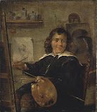 Painter in his Studio by David Teniers II - Genre Paintings from Hermitage Museum