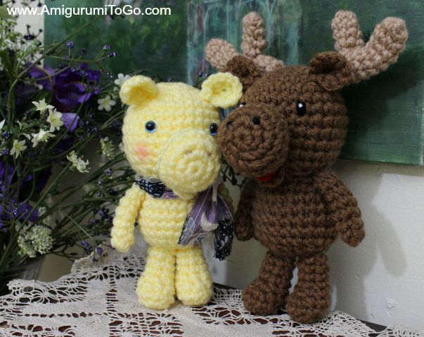 crochet yellow and brown moose