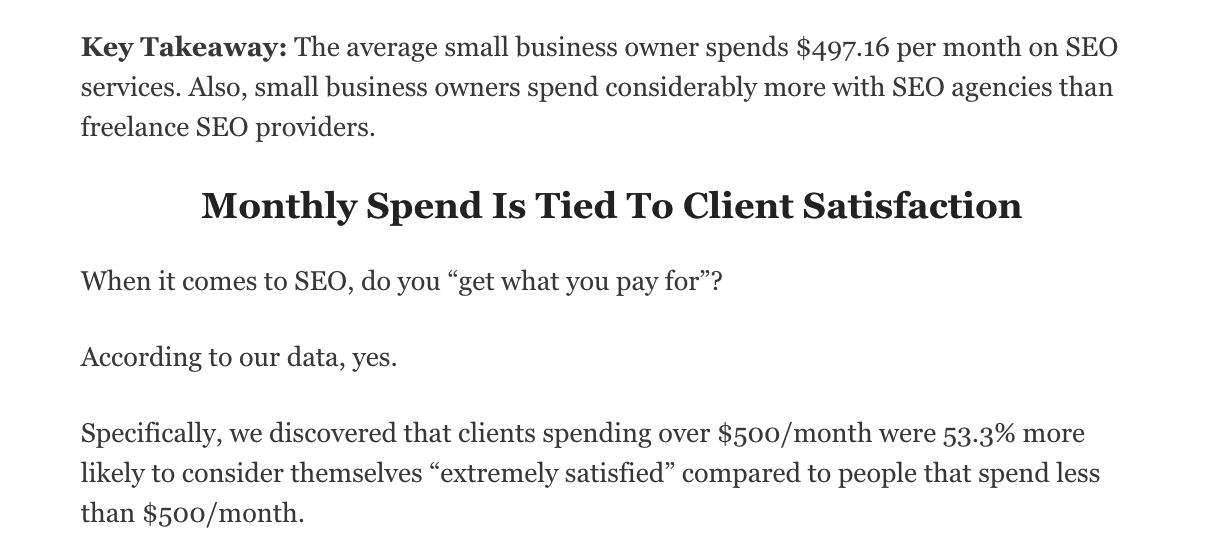 Spesa media mensile SEO in America per uno specialista