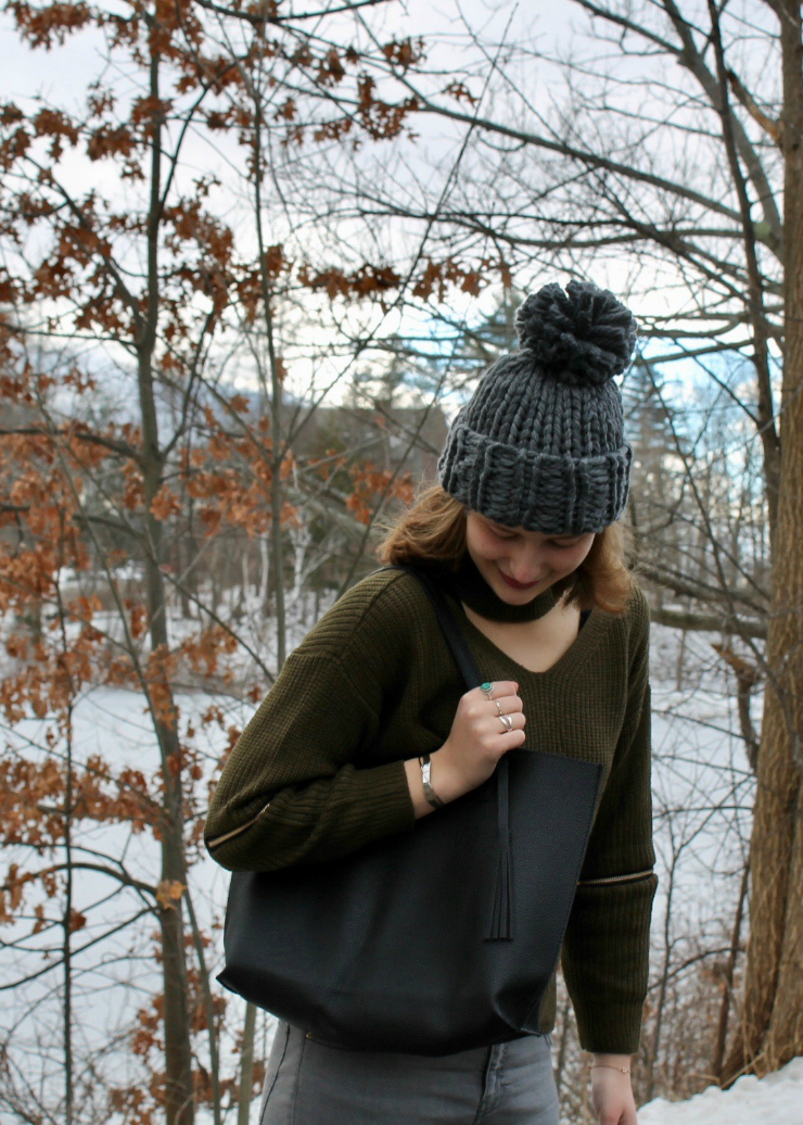 Olive Cut Out Chunky Choker Sweater, grey skinnies, grey pompom beanie, black tote for winter #ootd