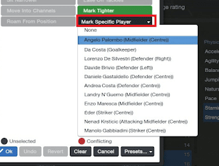 Football Manager Player Instruction Specific Marking