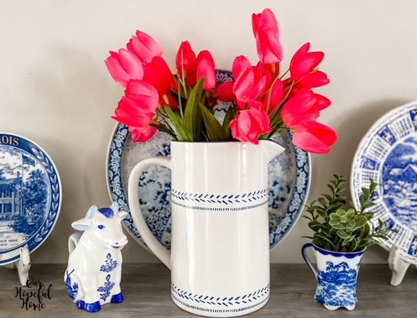 blue plates delft blue cow creamer Ming tray tulips pitcher
