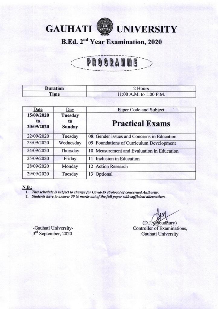 GU B.Ed Final Year Exam Programme 2020: