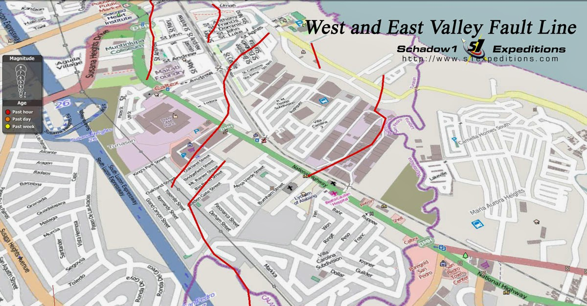 Interactive Map For The West And East Valley Fault Line On Rizal Metro Manila Laguna Cavite