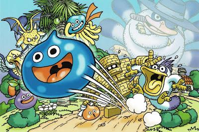 Slime de Dragon Quest saltando feliz. Hay otras criaturas del mundo DQ en el fondo