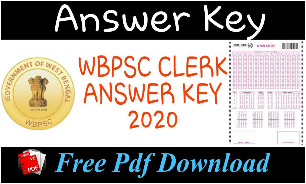 Wbpsc Clerk Exam Answer Key 2020