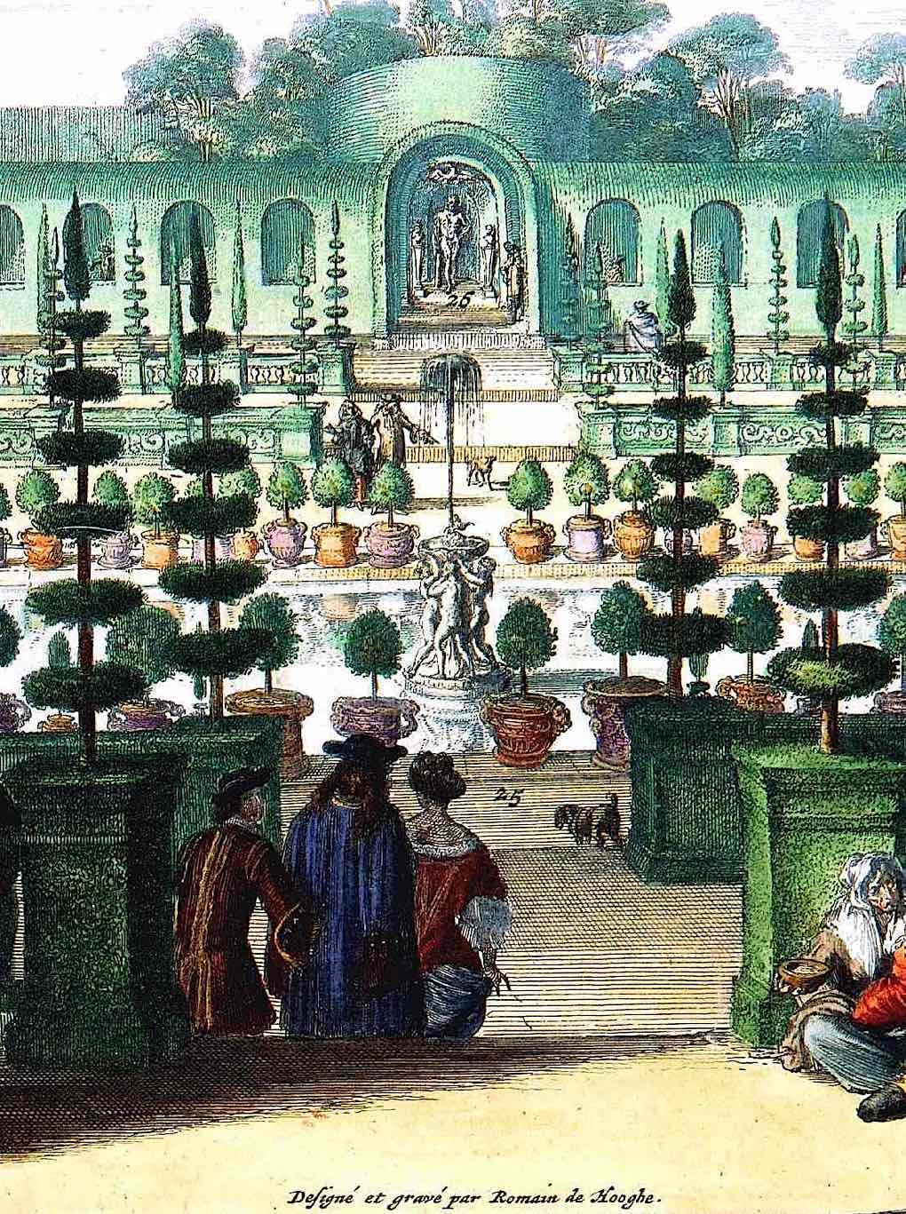 part of the 1680 royal Dutch gardens in an old color illustration