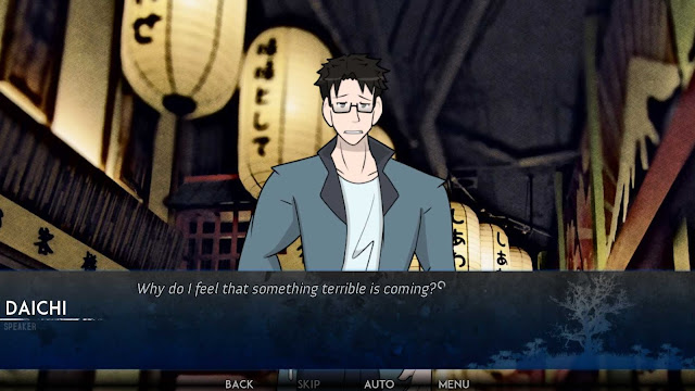 Daichi ibato wearing glasses and blue coat worried while in a festival of lanterns