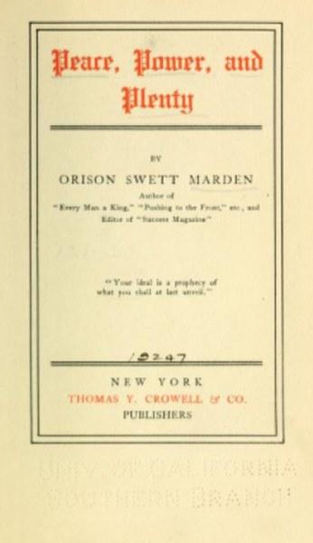 Peace, Power, and Plenty Book by Orison Swett Marden in pdf