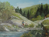 The First Date, 14 x 18 oil painting of a girl meeting a boy to go fishing in the countryside - by Clemence St. Laurent