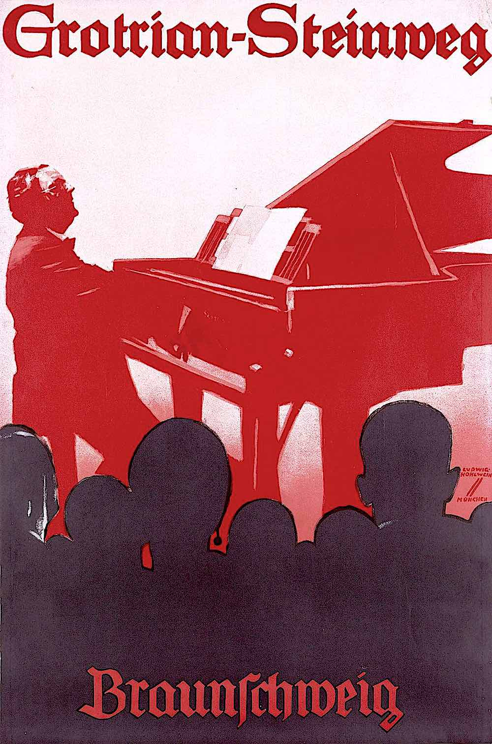 a poster illustration by Ludwig Hohlwein, Grotrian Stainweg pianos
