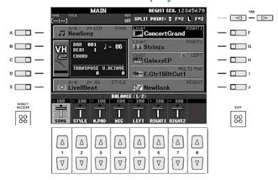 Tampilan Layar Utama Alat Musik Keyboard Yamaha PSR-s950