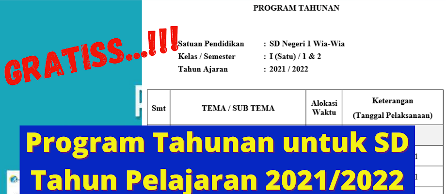 Program Tahunan Kurikulum 2013 Revisi Terbaru Tahun Pelajaran 2021/2022