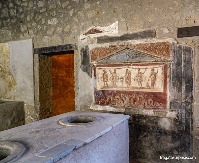 Um restaurante do Século 1º d. C,, em Pompeia