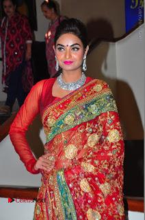 Model Sharon Fernandes Stills in Red Saree at Trendz Exhibition Launch  0041.JPG