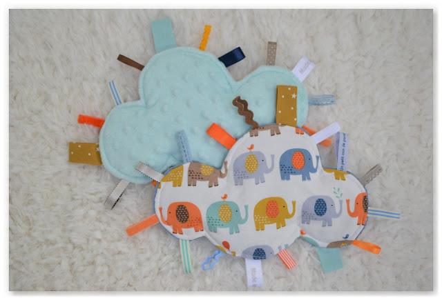 nouvelle collection doudous étiquettes nuage Made in Velanne