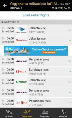Cara melihat jadwal keberangkatan pesawat di airport Yogyakarta menggunakan Aplikasi Android Flightradar24