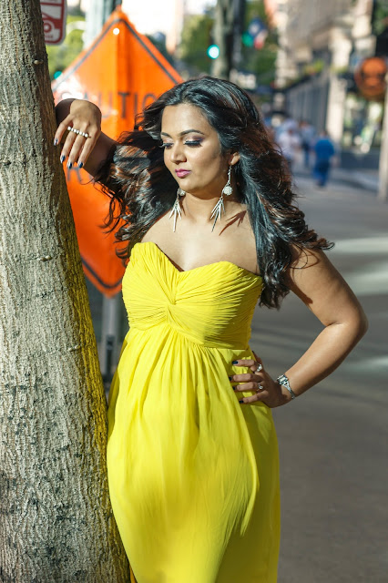 ananya in gown, yellow dress, long  gown, how to wear bright colors, cocktail dress, special occasion dress