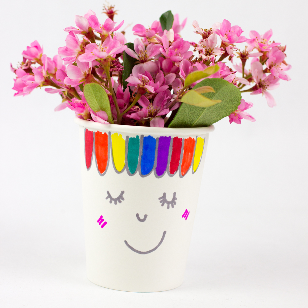 Paper Cup Flower Heads Pink Stripey Socks