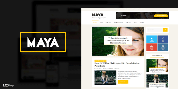 Maya template for blogger hight quality and elegan style