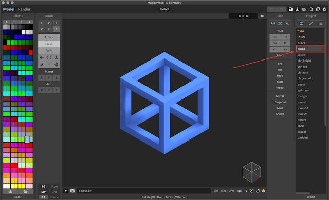 8x8x8 Sample Model File in MagicaVoxel