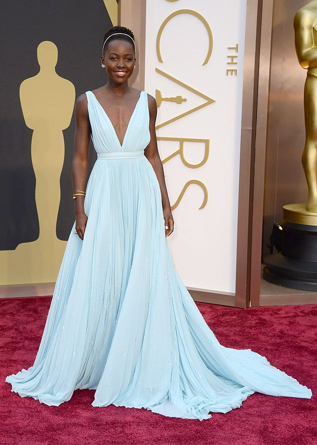 Lupita Nyong'o in an icy blue Prada gown at the Oscars 2014
