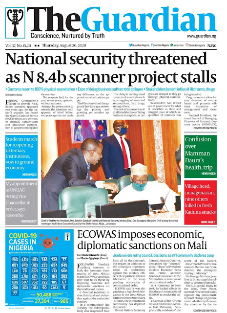 Front Page Headlines From 4 Top Newspapers In Nigeria