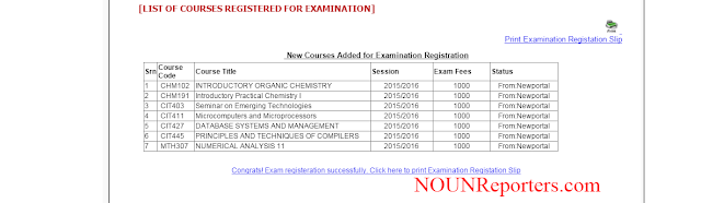 List of Courses registered for examination