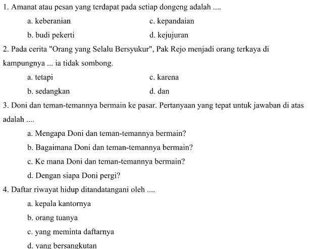 Contoh Soal Latihan UAS SD Kelas VI Semester 1 Mata Pelajaran Bahasa Indonesia Format Microsoft Word