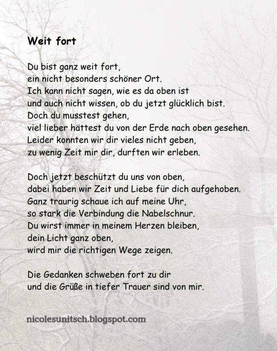 Gedichte Von Nicole Sunitsch Autorin Weit Fort Trauergedicht