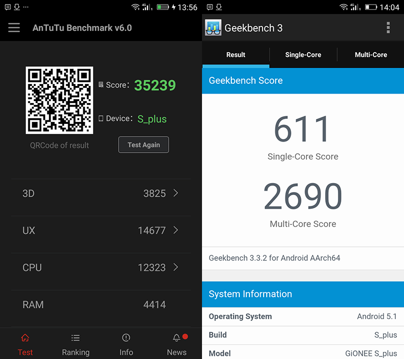 Antutu and Geekbench test