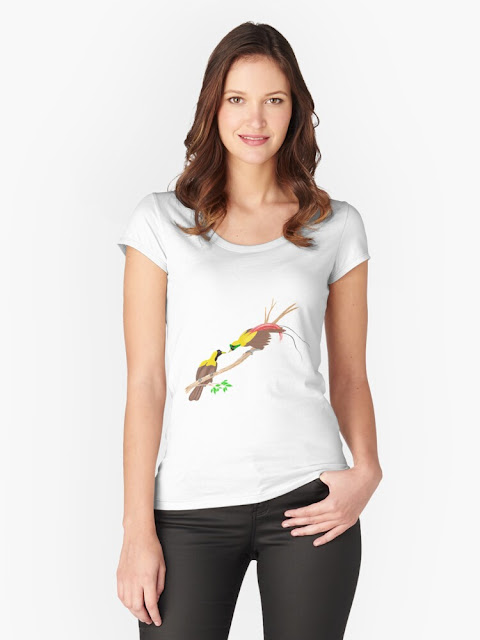 paradise bird drawing printed on t-shirt