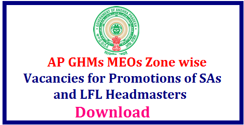 AP GHMs MEOs Zone wise Vacancies for Promotions of SAs and LFL Headmasters Andhra Pradesh Gazitted Headmasters Mandal Educational Officers Vacancies in Zone I Zone II Zone III and Zone IV Vizz Vizayanagaram, Srikakulam Vsakhapatnam East Godhavari West Godhavari Krishna Guntur Prkasam Nellore Chittoor Ananthapuram Kadapa Kurnool ap-ghms-meos-headmasters-mandal-educational-officers-vacancies-for-promotions-sa-lfl/2017/09/ap-ghms-meos-headmasters-mandal-educational-officers-vacancies-for-promotions-sa-lfl.html