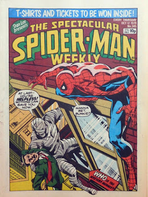 Spectacular Spider-Man Weekly #345, John Jameson, wrapped in bandages, carries J Jonah Jameson out of a window, as Spider-Man watches, ready to fight him