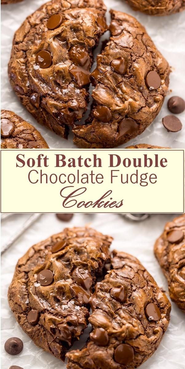 Soft Batch Double Chocolate Fudge Cookies #Cookiesrecipes