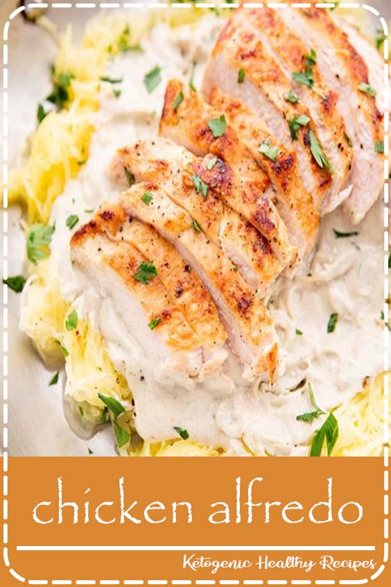 A rich and creamy chicken alfredo that's super healthy! Quick and easy to throw together, this healthy chicken alfredo recipe uses a dairy-free cashew alfredo sauce and spaghetti squash #healthy #chicken #recipes