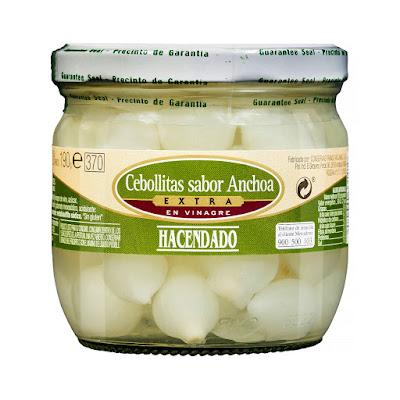 Cebollitas sabor anchoa extra en vinagre Hacendado
