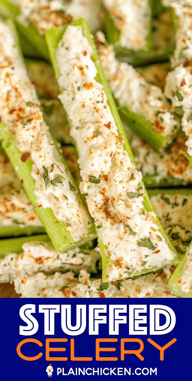 stuffed celery on a platter