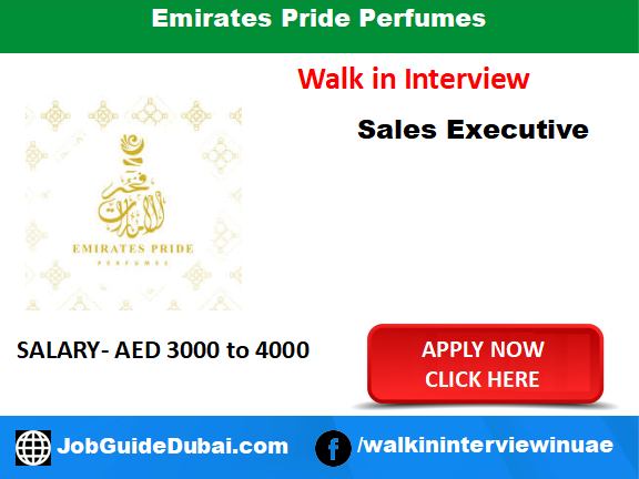 Emirates Pride Perfumes career for sales executive job in Dubai