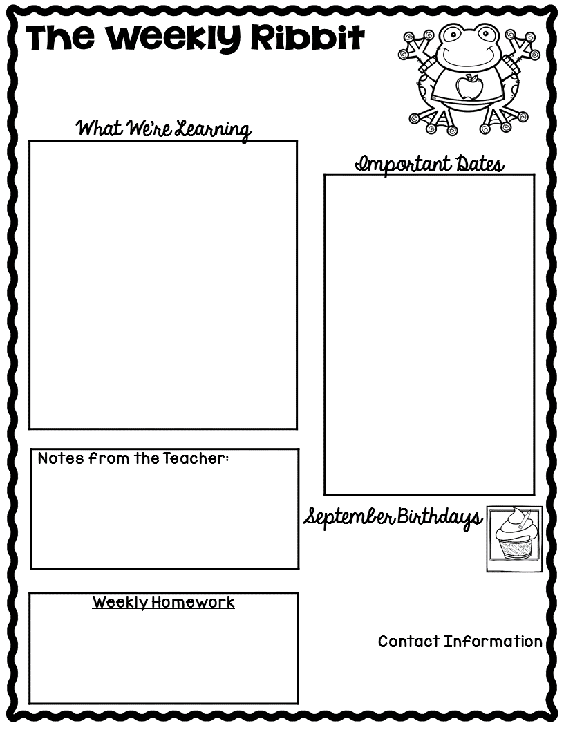 newsletters templates for teachers