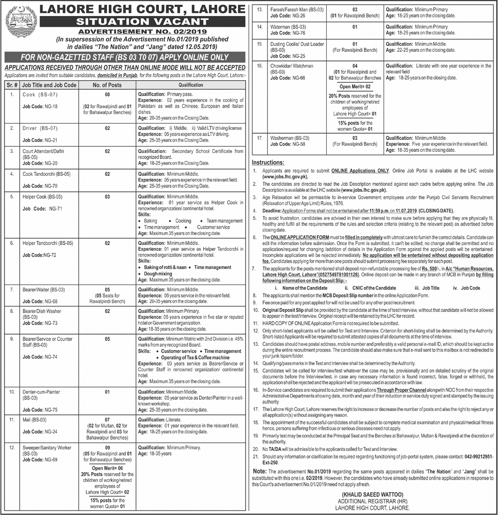 Jobs In Lahore High Court Lahore