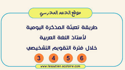 المذكرة اليومية خلال فترة  التقويم التشخيصي لأستاذ اللغة العربية: 3 و4 و5 و6
