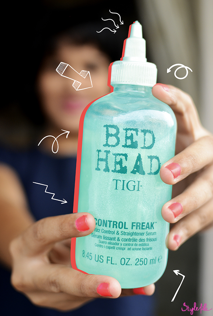 Dayle Pereira of Style File uses the TIGI Bed Head Control Frizz serum to fight frizz and for styling the hair