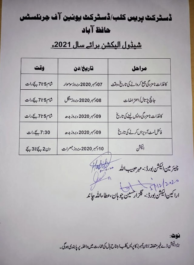 ELECTION SCHEDULE OF DISTRICT PRESS CLUB / UNION OF JOURNALISTS  DISTRICT HAFIZABAD FOR 2021