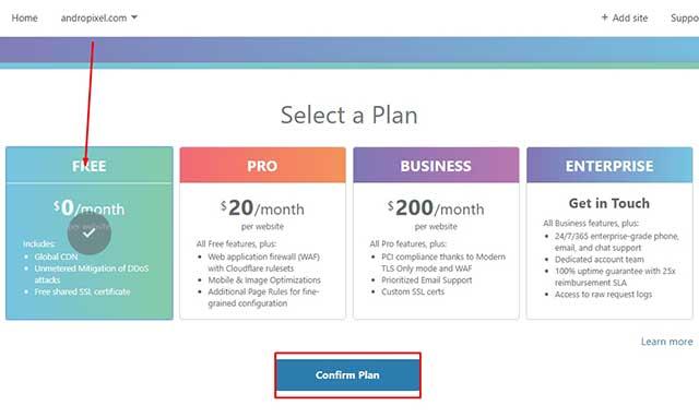 elegir el plan gratuito en cloudflare